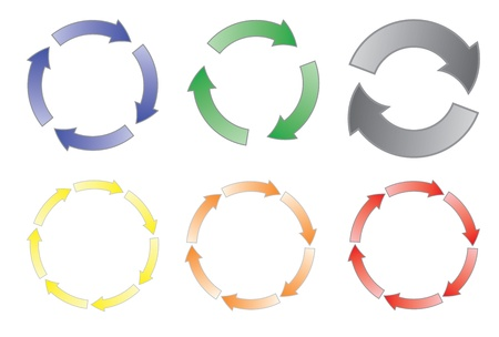 arrows circle: set of cycling arrows vector illustration