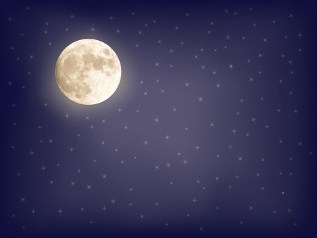 full moon: abstract starry background with full moon vector illustration