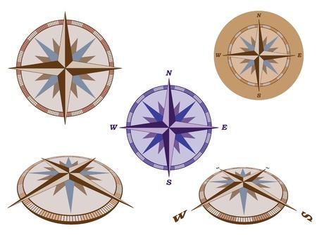 rosa dei venti: set di retro illustrazione vettoriale bussole