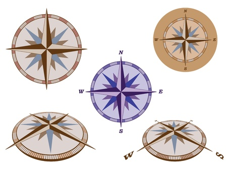 compass rose: set of retro compasses vector illustration