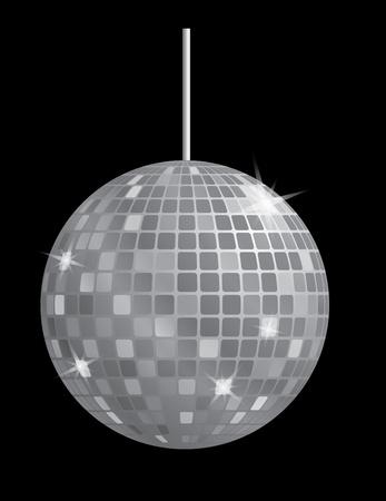 mirror ball: bola de discoteca espejo en ilustraci�n vectorial blanco y negro