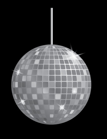 disco lights: disco mirror ball in black and white vector illustration Illustration