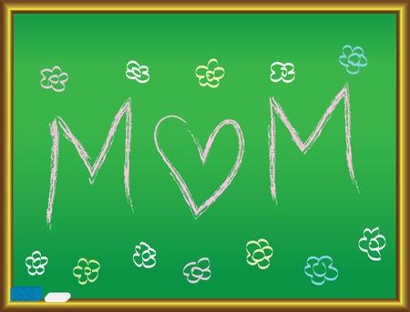 Love Mom drawing on a blackboard vector illustration Vector