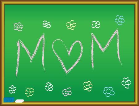 Love Mom drawing on a blackboard vector illustration Stock Vector - 12203259