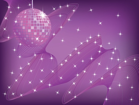 disco mirror ball over abstract waved background vector illustration Çizim