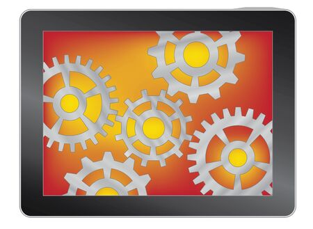 tablet with gears isolated on white vector illustration Stock Vector - 12203265