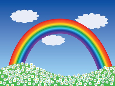 cartoon landscape with rainbow vector illustration