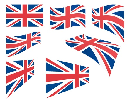 great britain flag: set of United Kingdom flags vector illustration