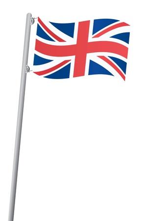 bandera inglesa: Reino Unido bandera en un asta de bandera ilustraci�n vectorial Vectores