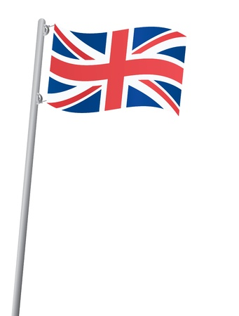 flagpole: United Kingdom flag on a flagstaff vector illustration Illustration