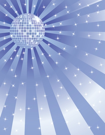 abstract blue background with disco mirror ball Vector