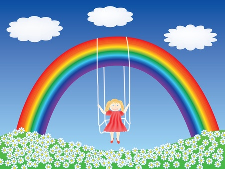 girl in a swing hanging on rainbow vector illustration Illustration