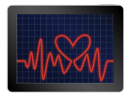 vector illustration of cardiogram with heart on a tablet Vector