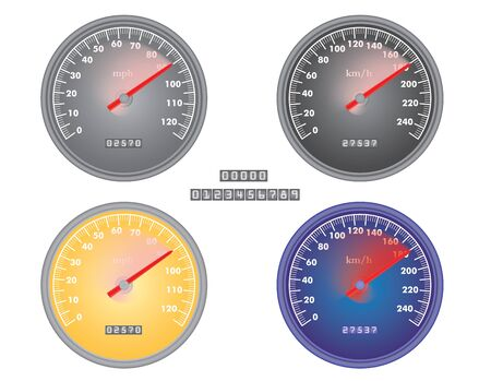 high detail: set of mph and kph speedometers vector illustration