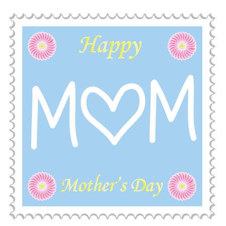 post stamp: Felice Festa della mamma timbro postale illustrazione vettoriale Vettoriali