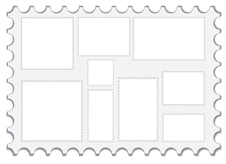 set of blank post stamps vector illustration Vector