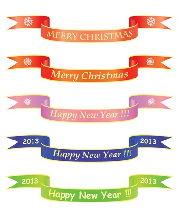 Merry Christmas and Happy New Year banners Stock Vector - 12203292