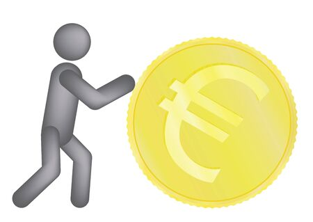 man rolling golden euro coin vector illustration Stock Vector - 12481107
