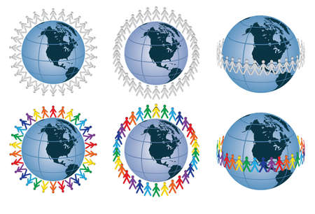 people around the globe  illustration Vector