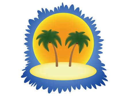 island with two palm trees over sun  illustration Stock Vector - 12483077