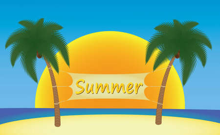 island clipart: summer banner hanging on palm trees over sun illustration