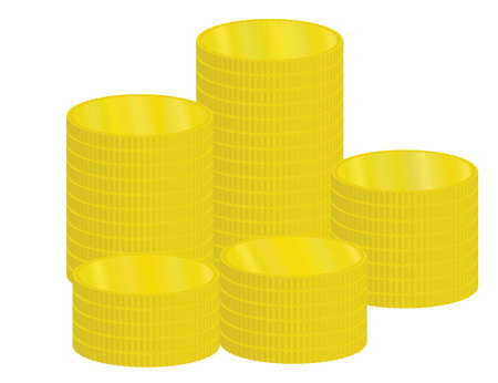 piles of golden coins illustration Vector