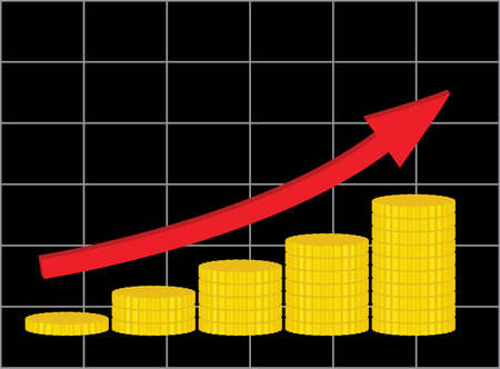 analytic: analytic diagram showing increase of income illustration