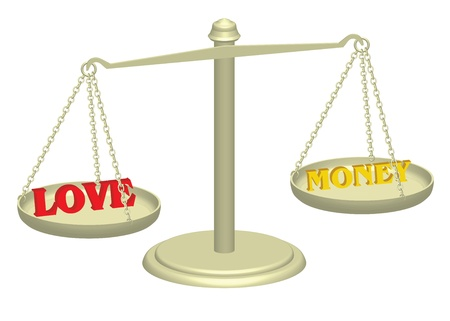 true love: love and money on justice scales illustration Stock Photo