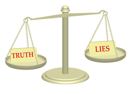 injustice: Truth and Lies on justice scales illustration Stock Photo