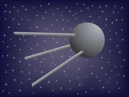 artificial satellite: satellite in space illustration Illustration