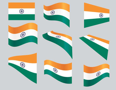 ashok: set of Indian flags over gray background vector illustration