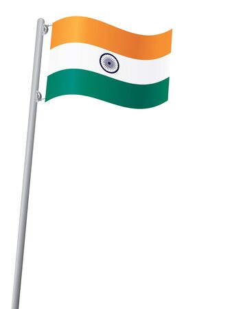 ashok: Indian flag on flagstaff isolated on white vector illustration