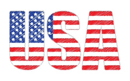 scribbled: USA made of scribbled United States flag illustration Illustration