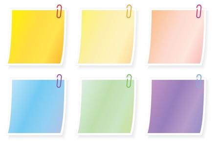 un conjunto de notas en blanco con papel ilustración de los clips Ilustración de vector