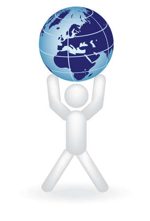 man holding globe on arms illustration Vector