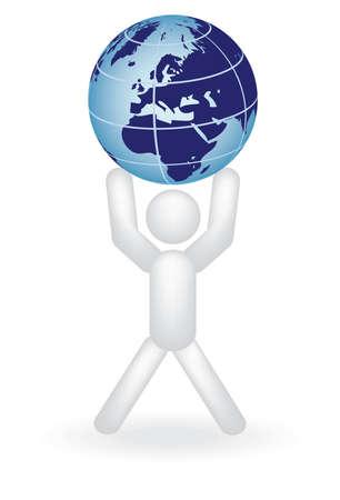 man holding globe on arms illustration