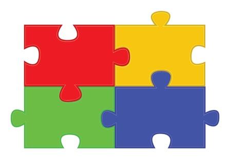 four color jigsaw puzzle parts illustration