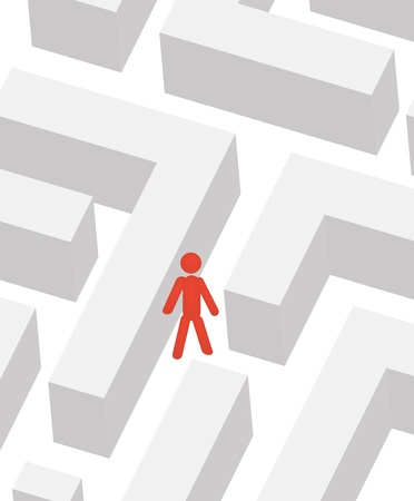 difficult situation: man in labyrinth illustration Illustration