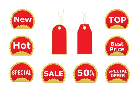 set of red stickers and price tags illustration Stock Vector - 12837658