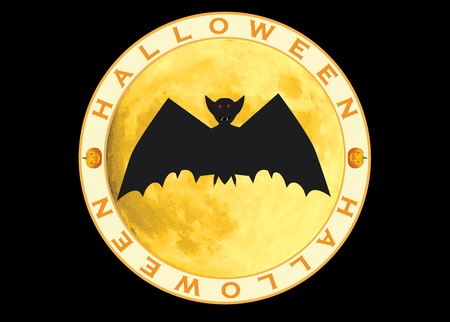 halloween sign  bat over moon illustration Stock Vector - 12837685