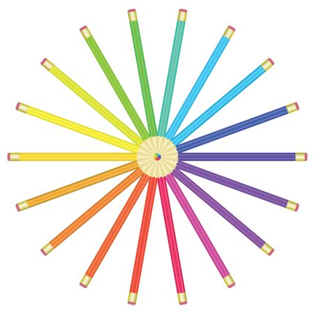 color pencils lying by circle illustration Stock Vector - 12837672