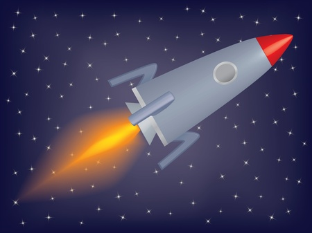 rocket flying in a space illustration Vector