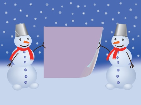 two snowmen with bent paper page vector illustration Vector