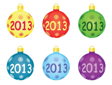 set of christmas tree balls 2013 Vector