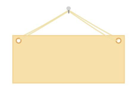 hanging string: blank notice board hanging on nail vector illustration Illustration