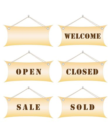 set of shop notice boards hanging on nail vector illustration