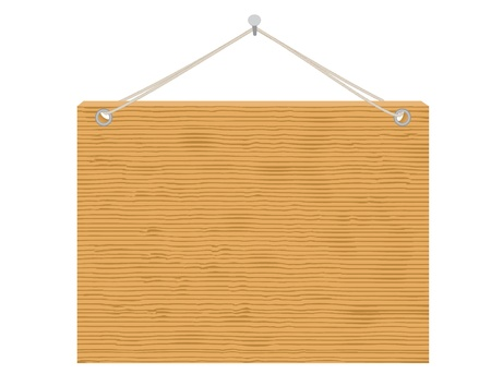 notices: wooden notice board hanging on nail vector illustration