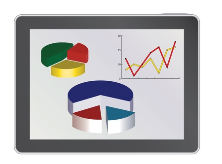 tablet pc with analytics diagrams vector illustration Vector
