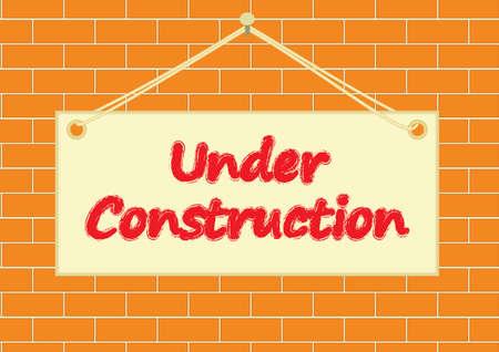 under construction board on a brick wall vector illustration Vector