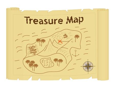 retro fashioned treasure map vector illustration Vector